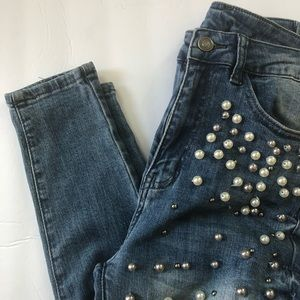 High rise pearls jeans